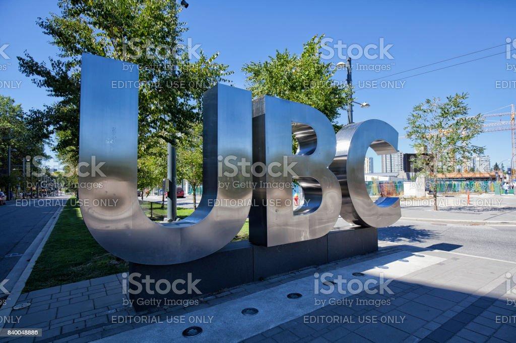 UBC sign, Vancouver, Canada stock photo
