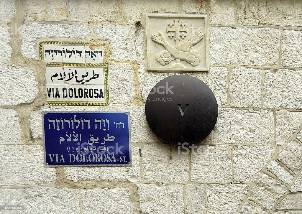 Sign Via Dolorosa royalty-free stock photo