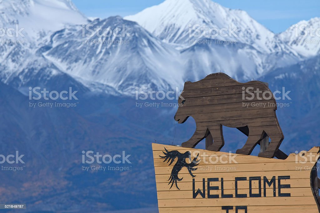 Sign welcoming visitors to Haines Junction, Yukon, Canada stock photo