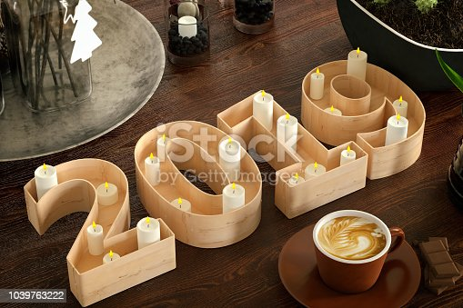 istock 2019 Sign with Candles. New Year 1039763222