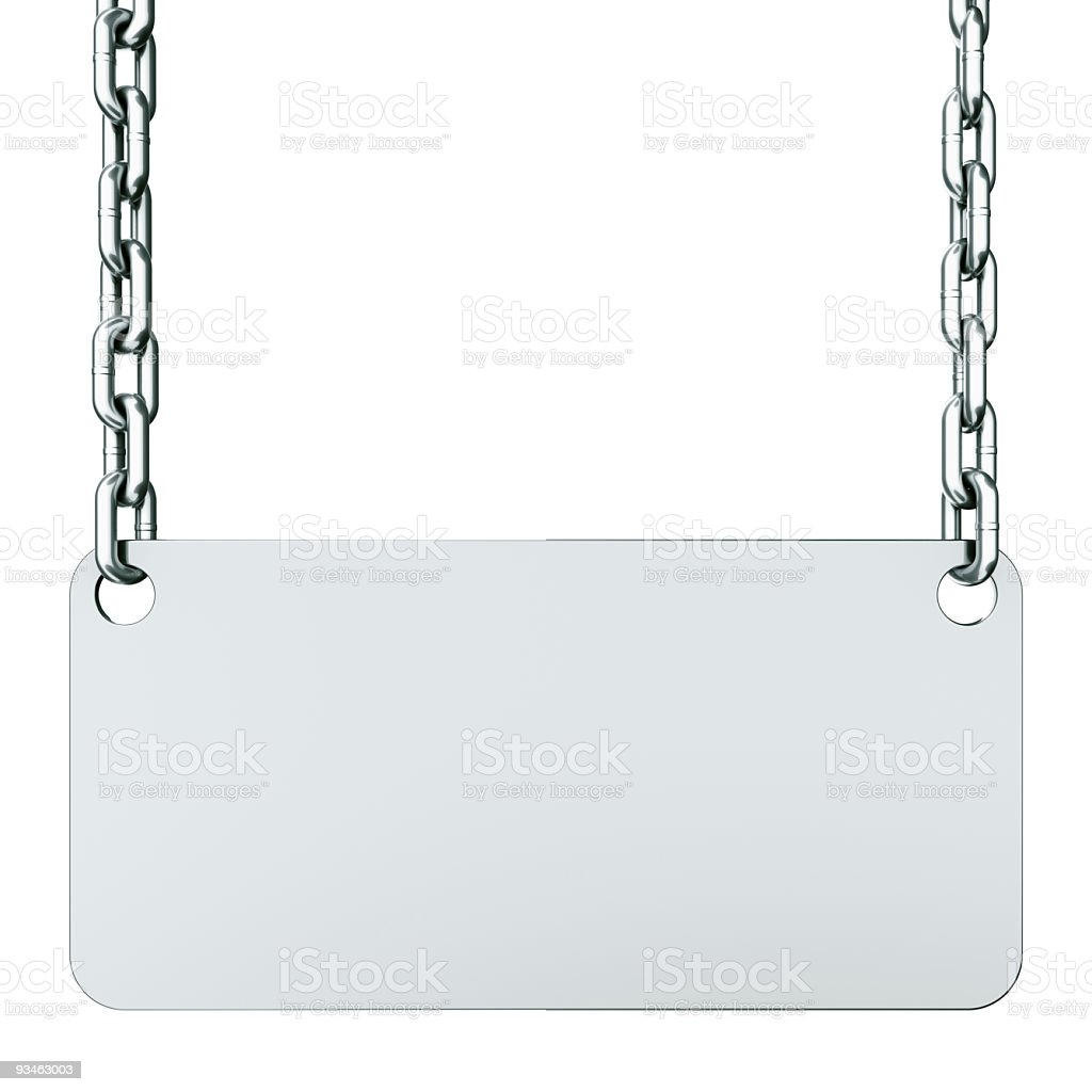 Sign with chains stock photo
