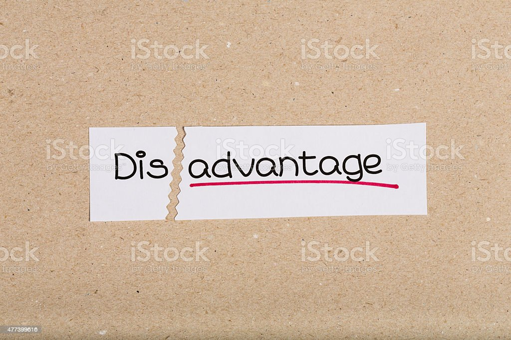 Sign with word disadvantage turned into advantage stock photo