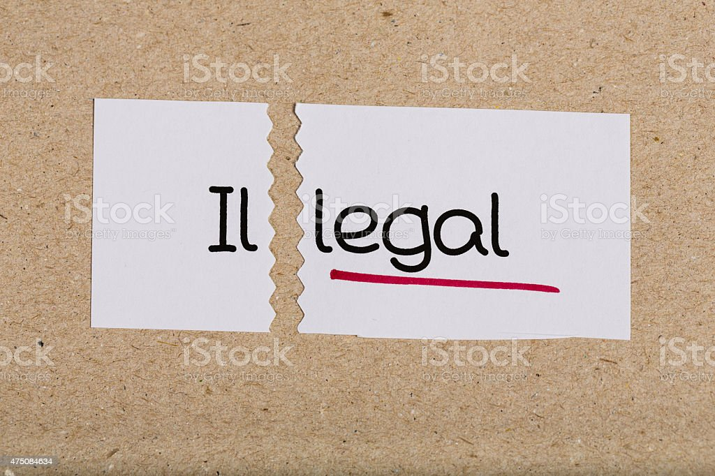 Sign with word illegal turned into legal stock photo