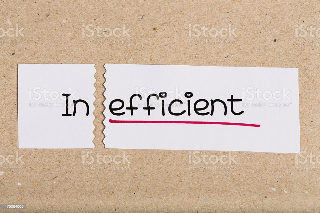 Sign with word inefficient turned into effcient stock photo