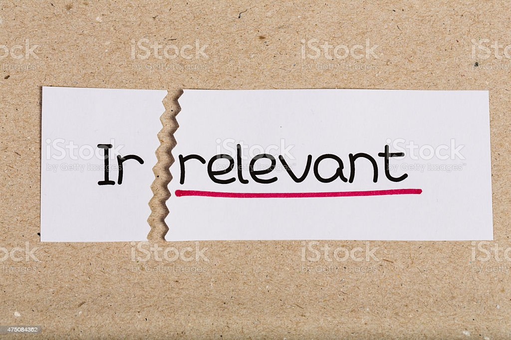 Sign with word irrelevant turned into relevant stock photo