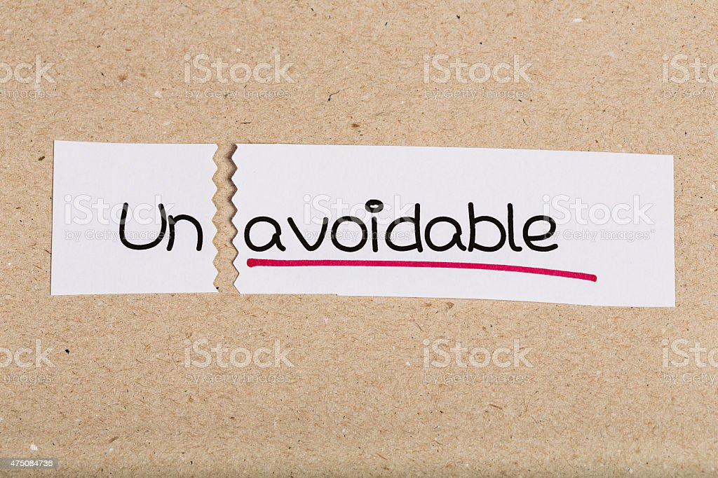 Sign with word unavoidable turned into avoidable stock photo
