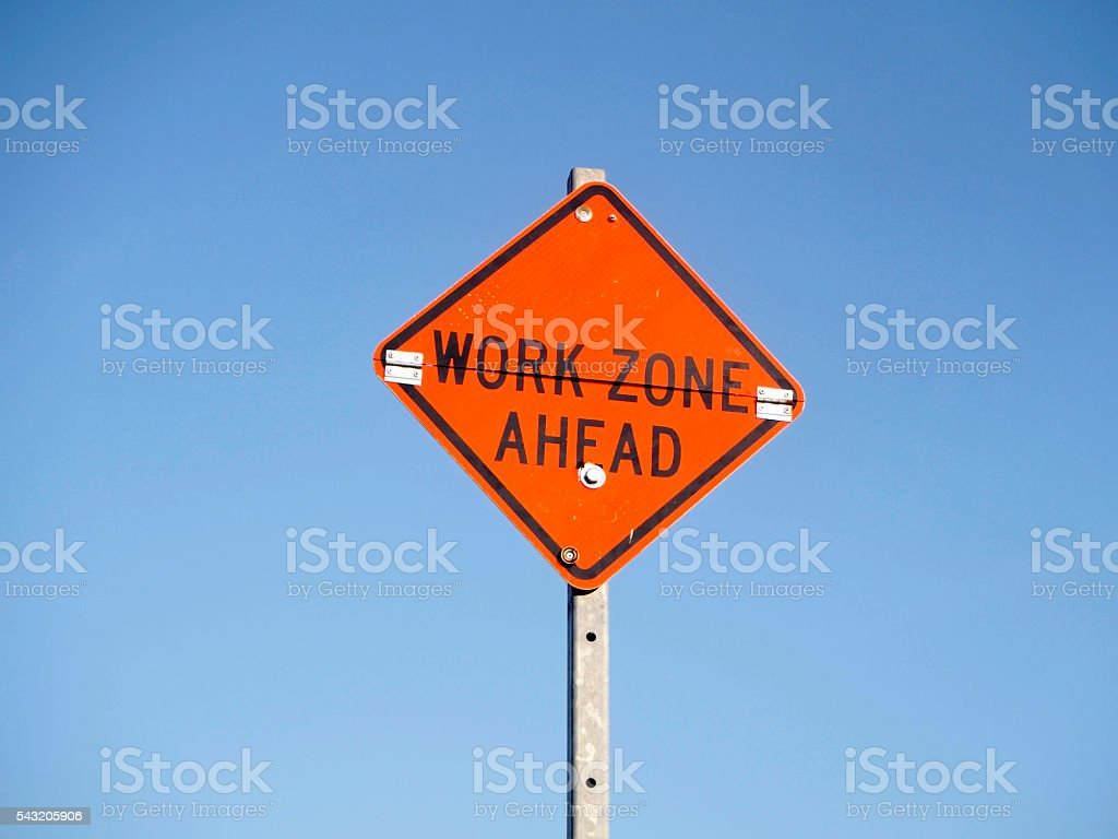 Sign work zone ahead stock photo