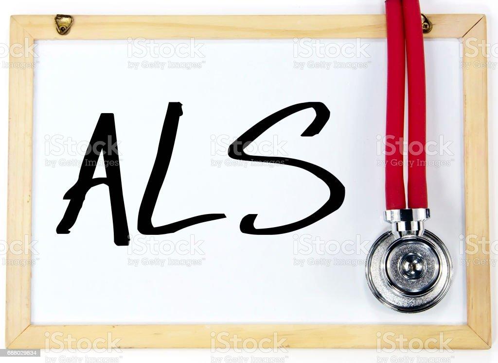ALS sign write on  blackboard stock photo