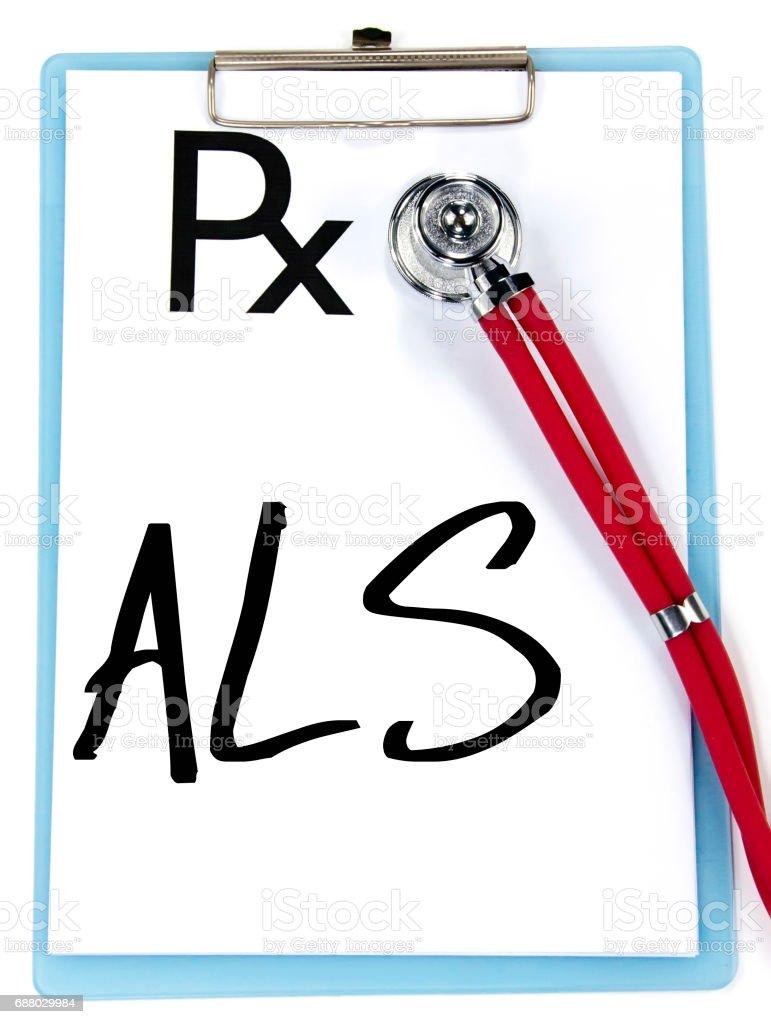 ALS sign write on prescription stock photo