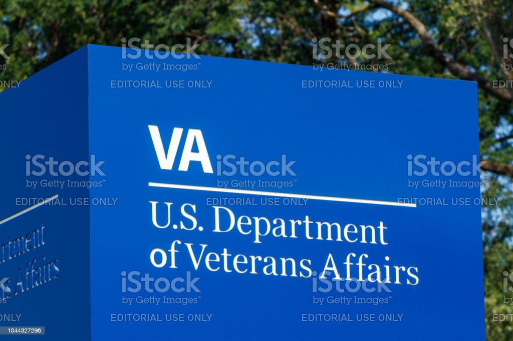 Signage and logo of the U.S. Department of Veterans Affairs. The VA provides healthcare services to military veterans III stock photo