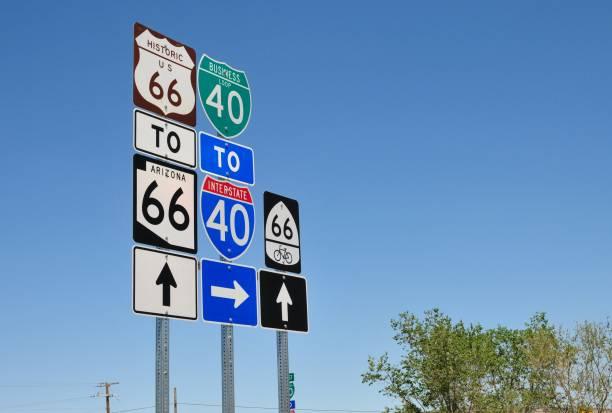 signage van de historische route 66 in arizona, usa. - arizona highway signs stockfoto's en -beelden