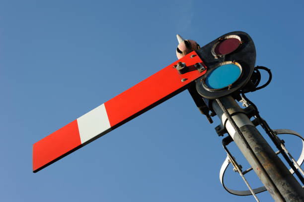 gwr signal arm - railway signal stock photos and pictures
