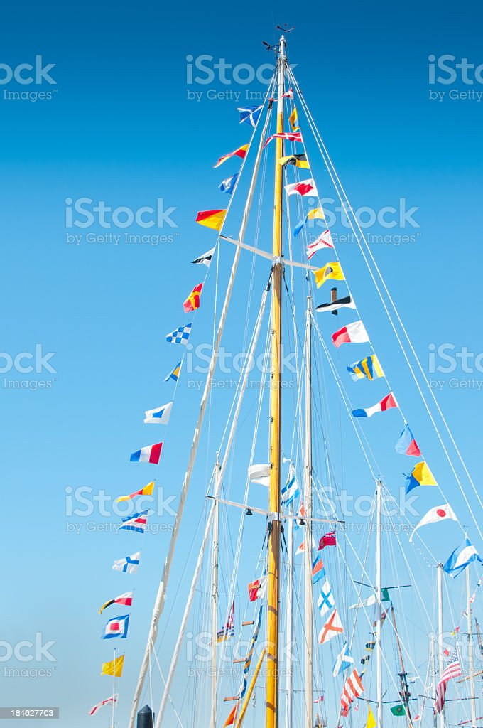 Signal Flags on a Tall Ship stock photo
