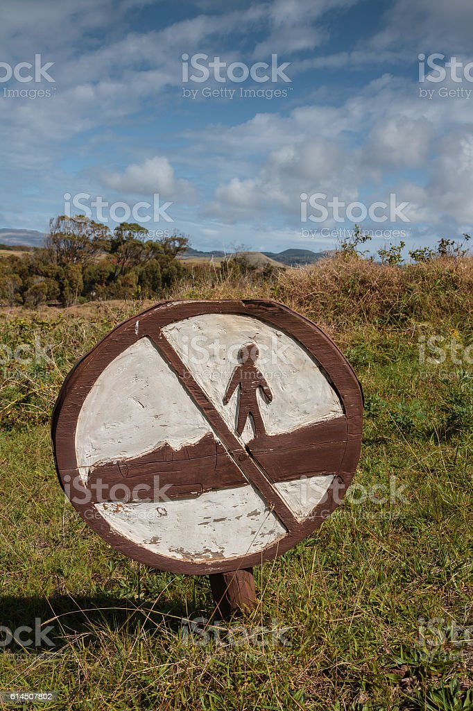 Signal not to step moai stock photo