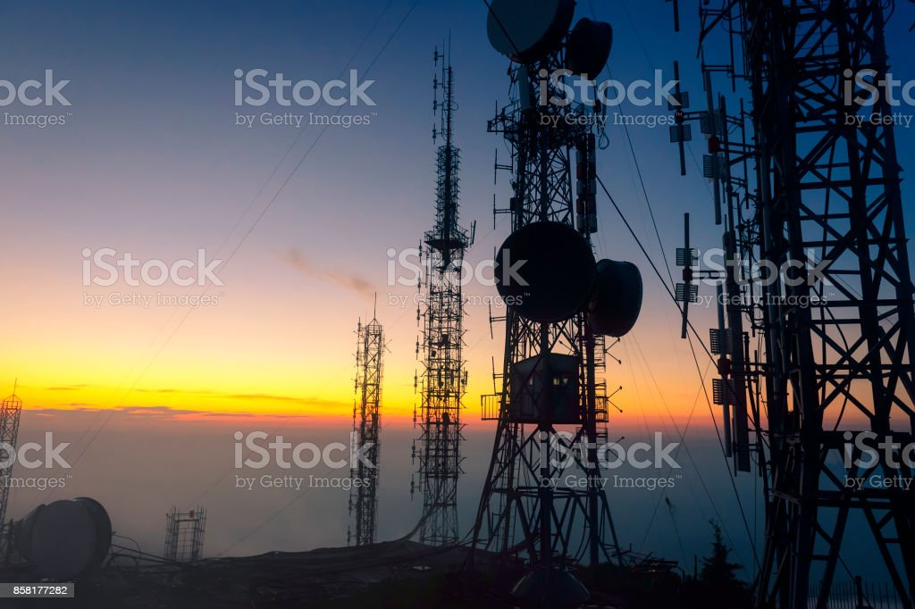 Signal receiving tower equipment stock photo