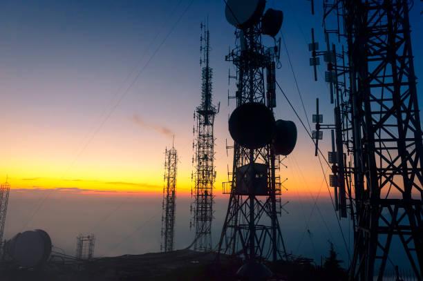 Signal receiving tower equipment stock photo