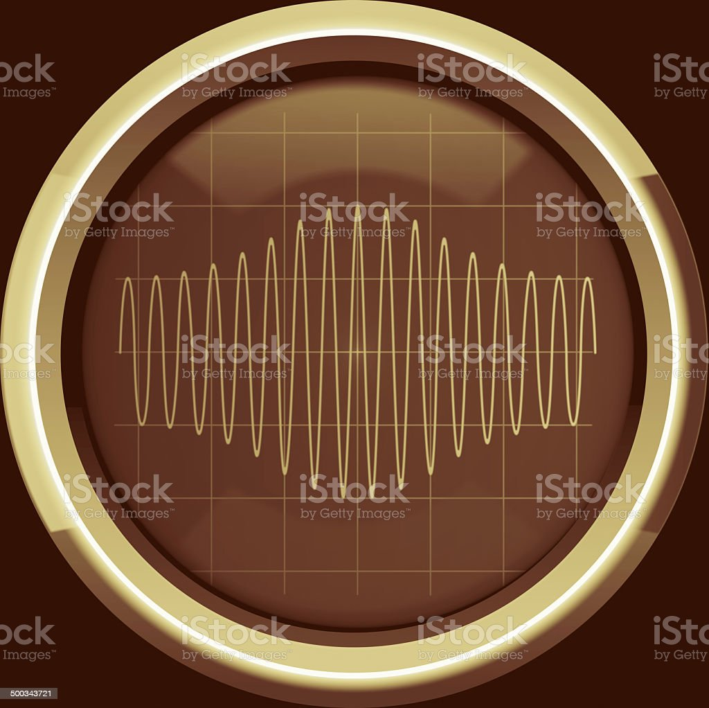 Signal with amplitude modulation on the oscilloscope screen in b stock photo
