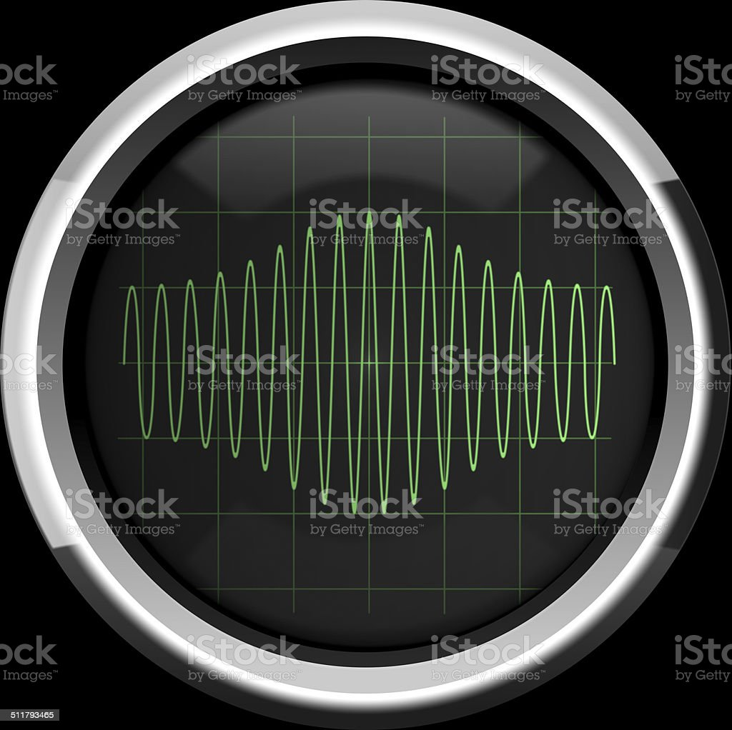 Signal with amplitude modulation on the oscilloscope screen in g stock photo