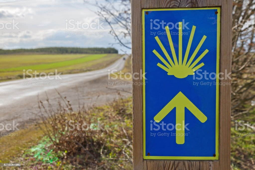 Signaling Arrow on the Camino de Santiago -  Señalizacion del Camino de Santiago stock photo
