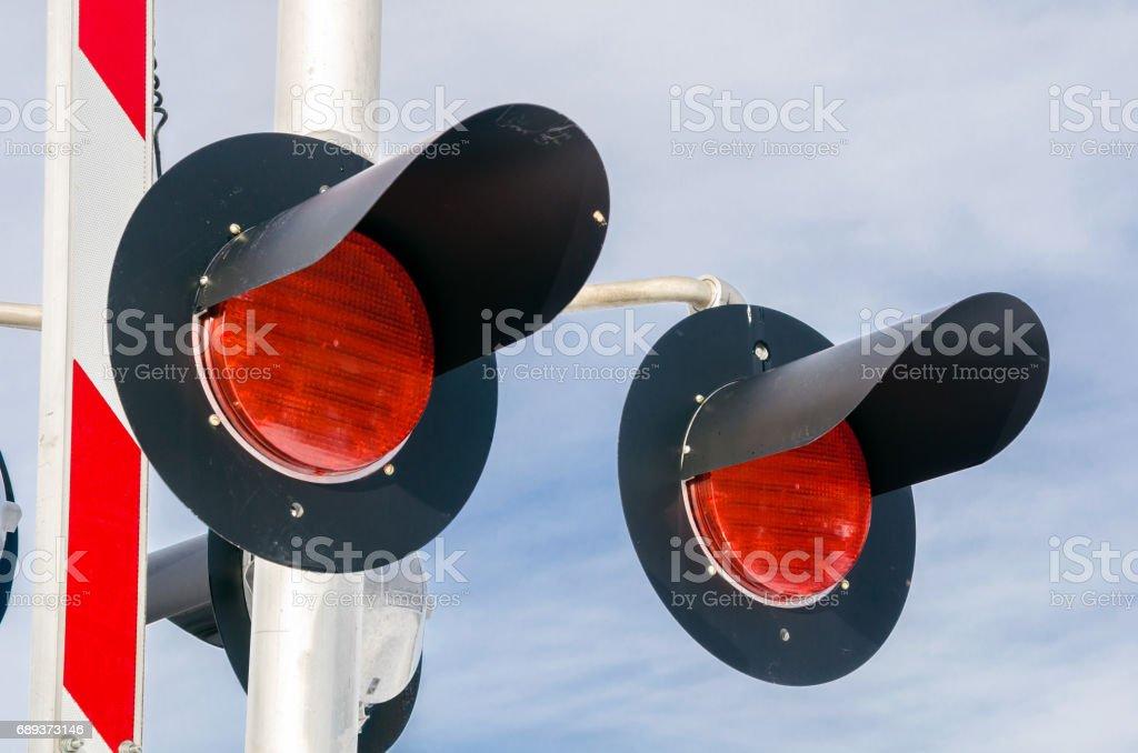 Signals at a Railroad Crossing stock photo
