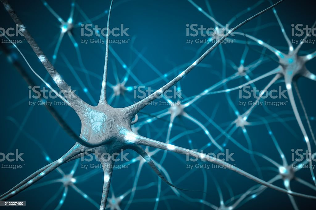 Signals in neurons in brain, 3D illustration of neural network. stock photo