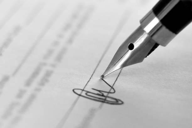 unterschriftendokumente - unterschrift stock-fotos und bilder