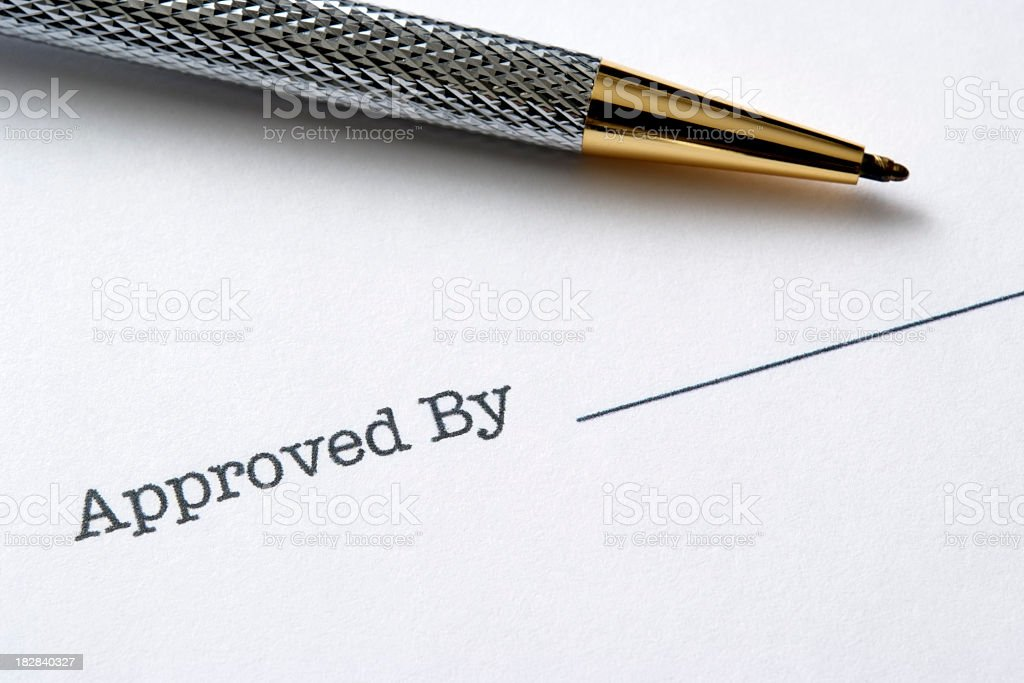 Signature of an approved document - Approved royalty-free stock photo