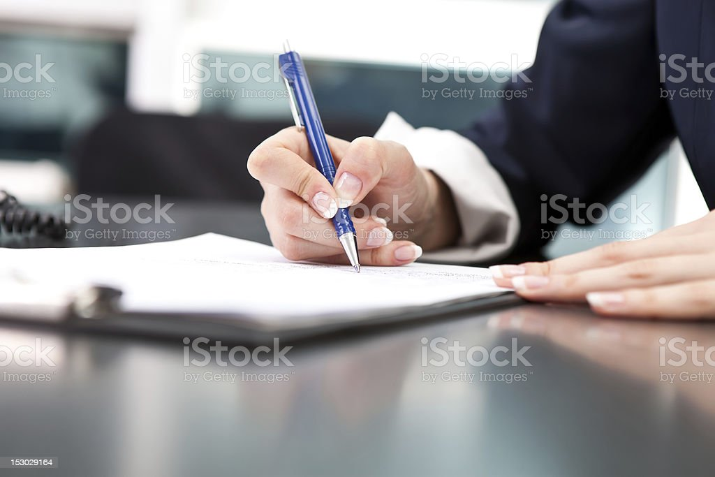 signature of the document stock photo
