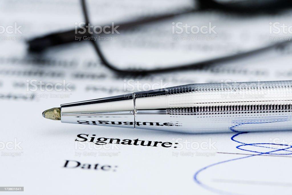 Signature on document. royalty-free stock photo