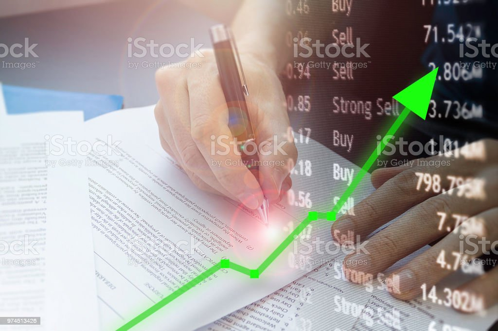 Signature raises stock price with new financial gain in the market. stock photo