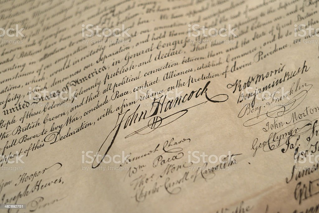Signatures on US Declaration of Independence stock photo