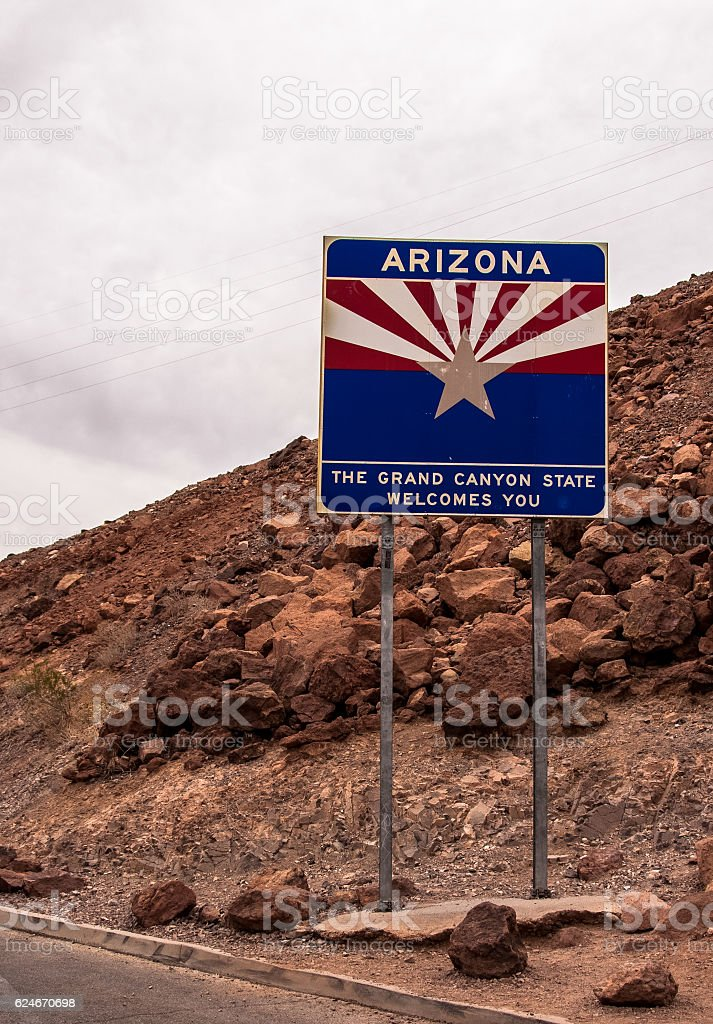 Signboard at the entrance to Arizona, United States stock photo