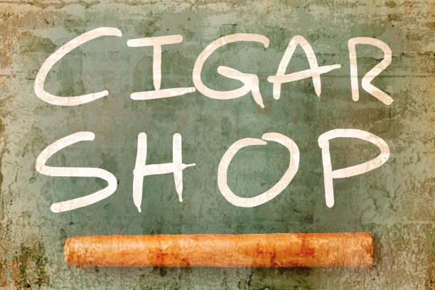 Schild der Zigarre Shop Überschneidung mit alten Mauer strukturierten Hintergrund. Retro-Filter. – Foto