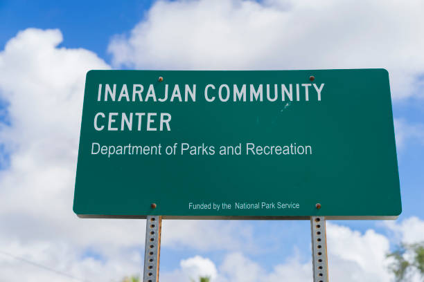 signboard of inarajan community center - place sign stock pictures, royalty-free photos & images
