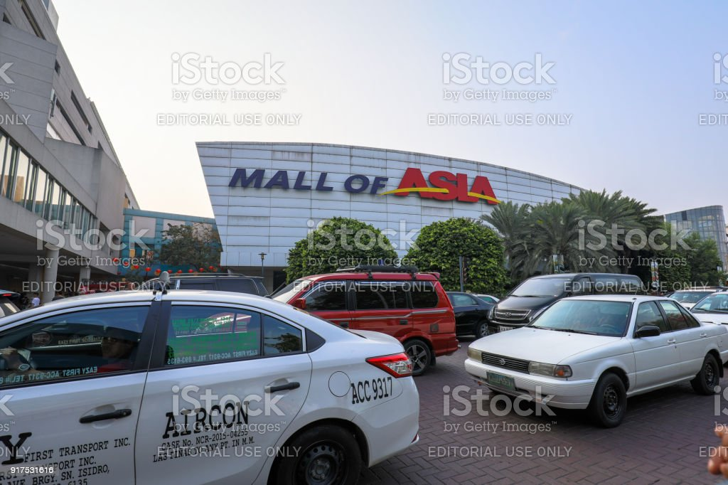 Signboard of Mall of Asia shopping mall in Pasay, Manila city stock photo