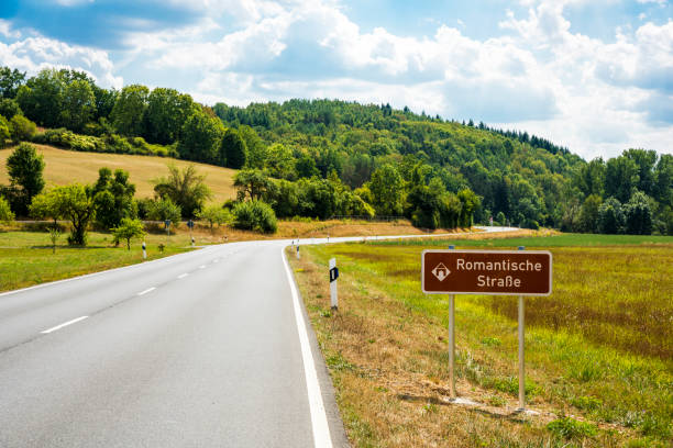 Signboard of Romantic Road (Romantische Strasse) in Bavaria, Germany stock photo