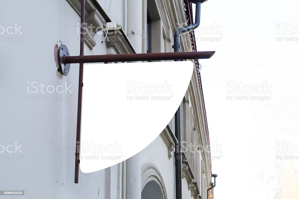 Signboard on the wall. Mock up stock photo