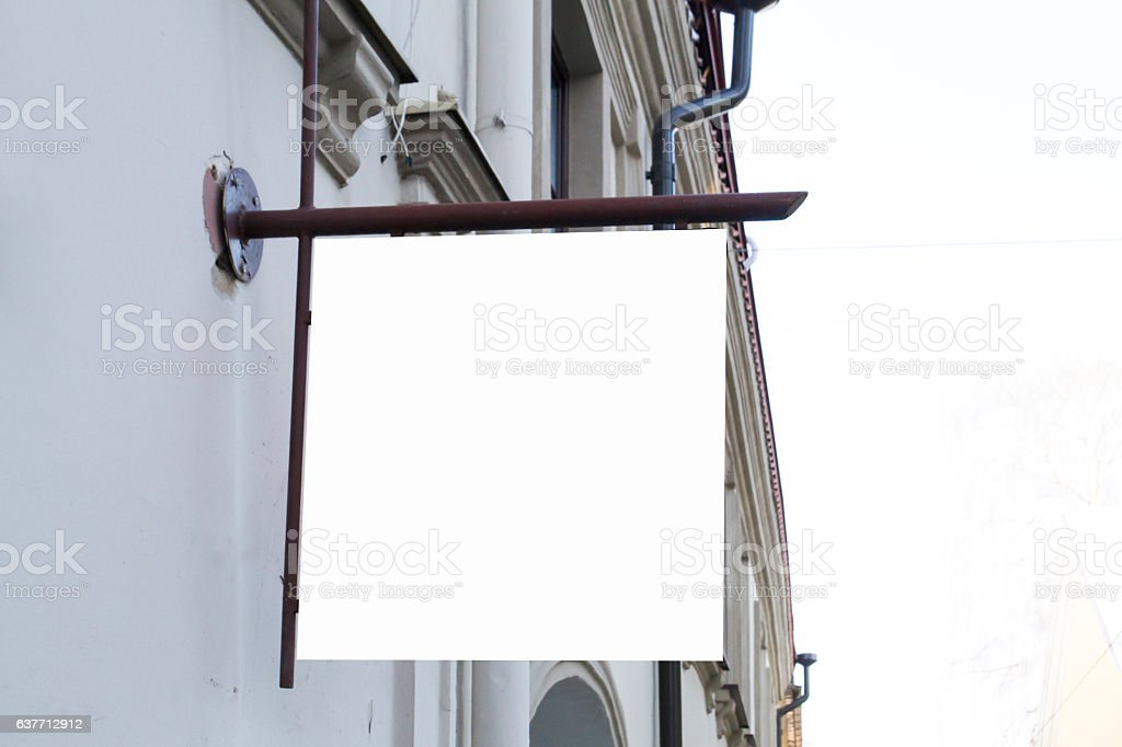 Signboard on wall. Mock up square shape. stock photo