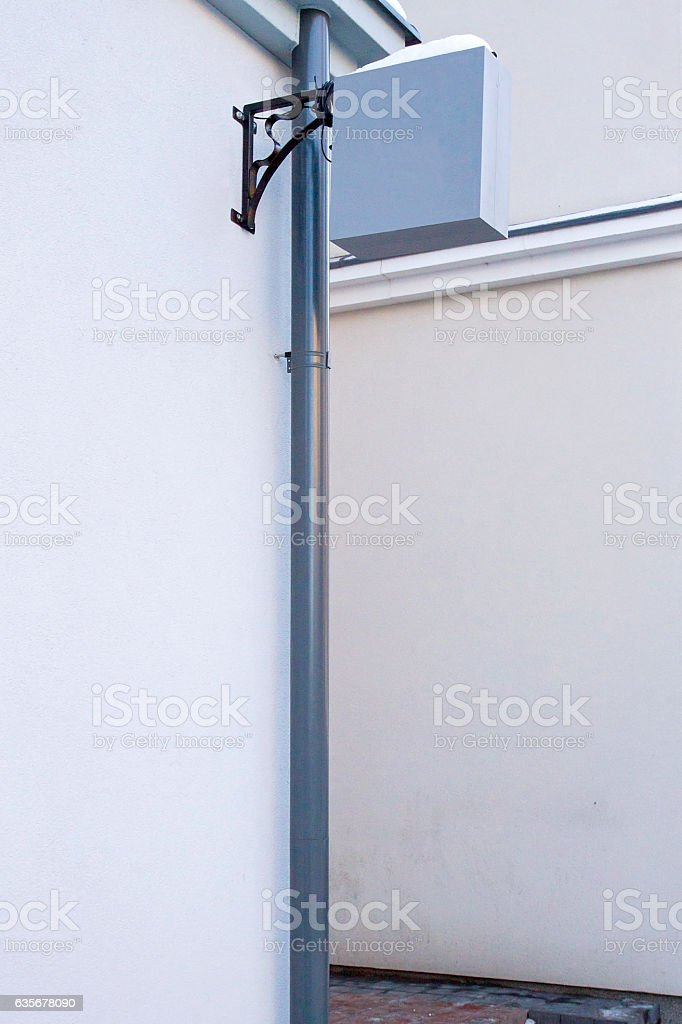 Signboard on wall. Square shape mock up. stock photo