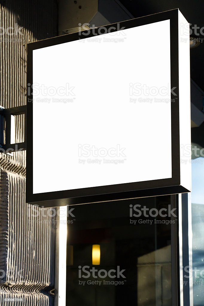 Signboard on wall. Three mock ups square shape. stock photo