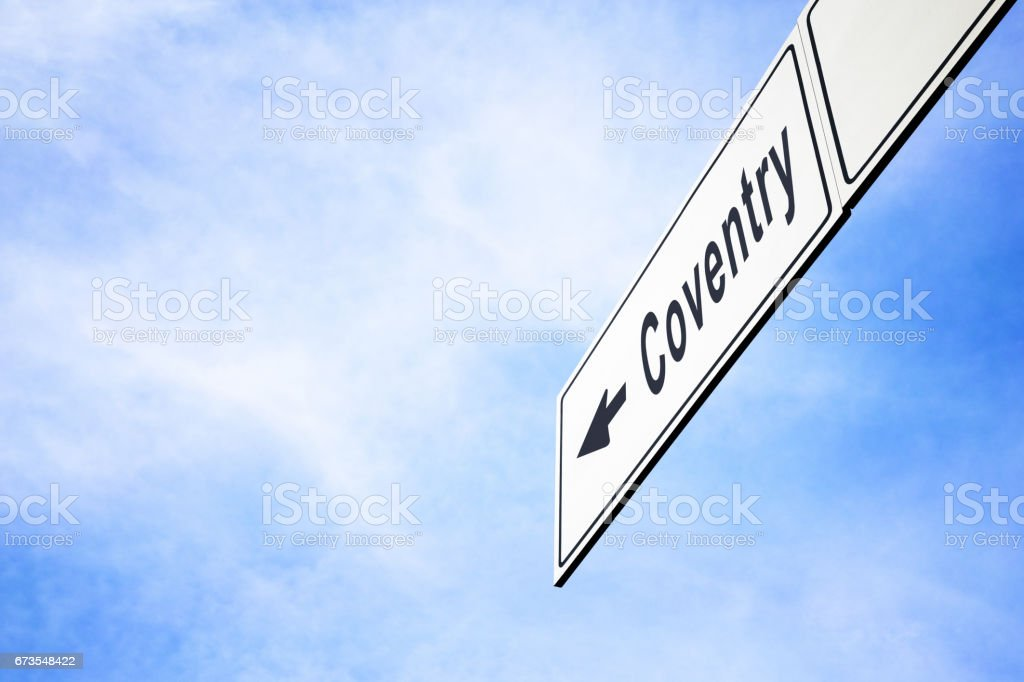 Signboard pointing towards Coventry royalty-free stock photo