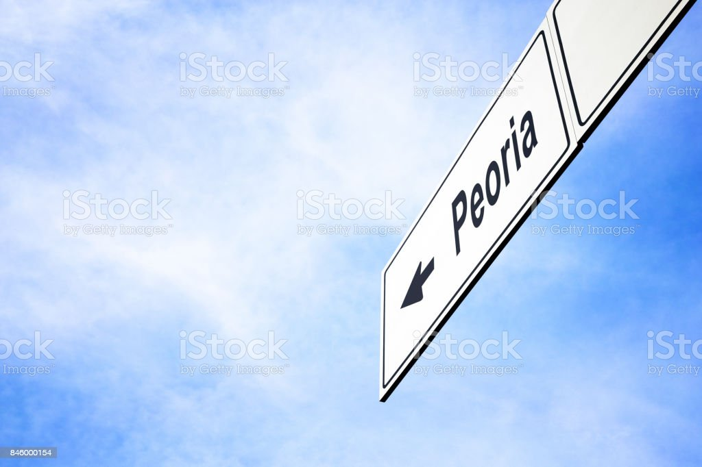 Signboard pointing towards Peoria stock photo
