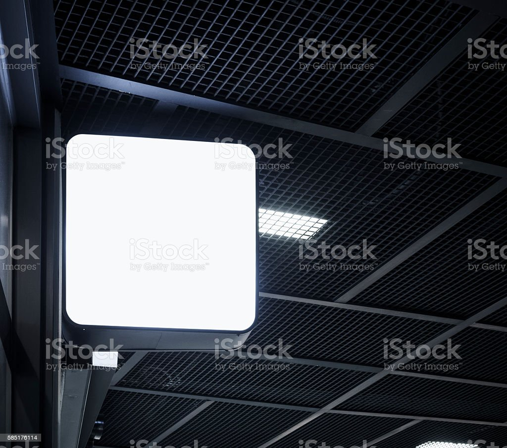Signboard shop Mock up square shape display in building stock photo