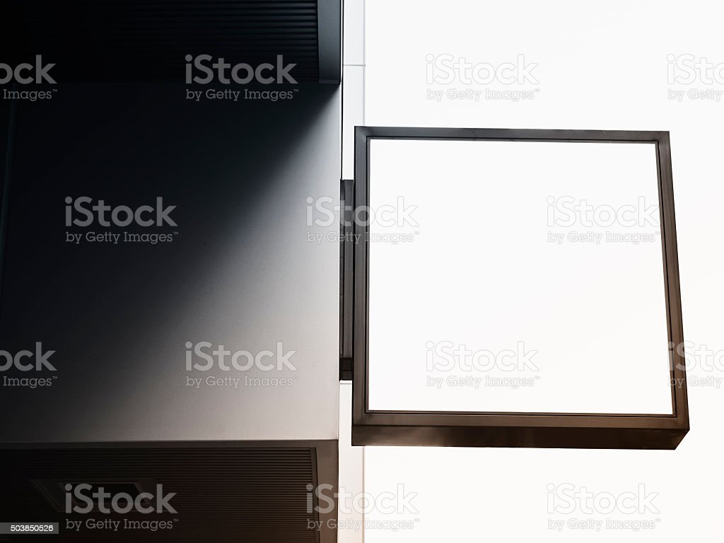 Signboard shop Mock up square shape display stock photo