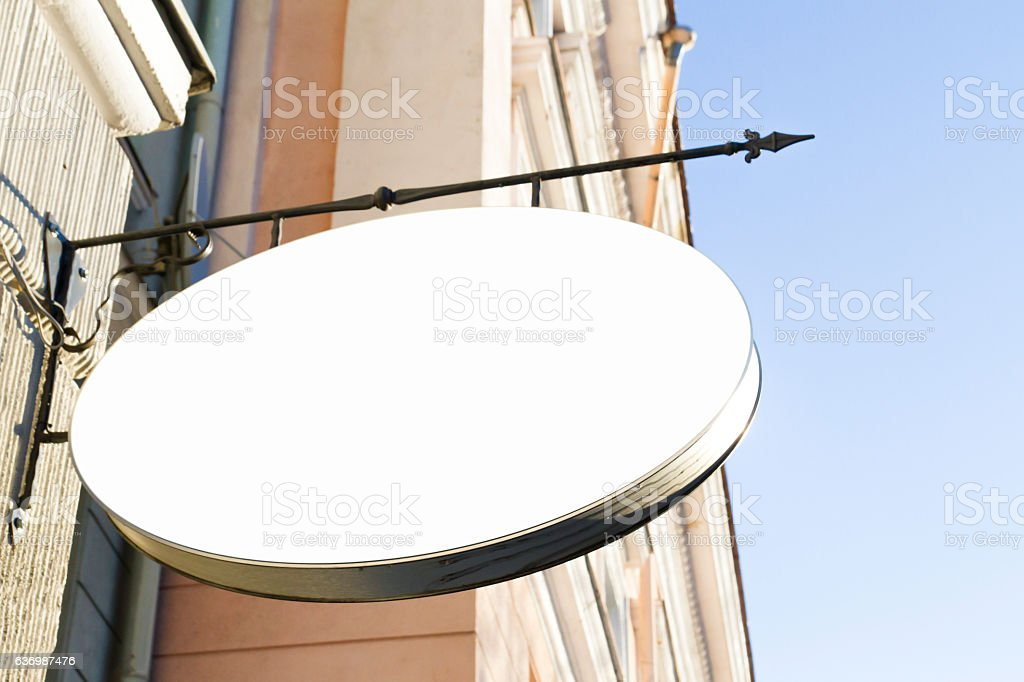 Signboard shop or restaurant. Mock up. stock photo