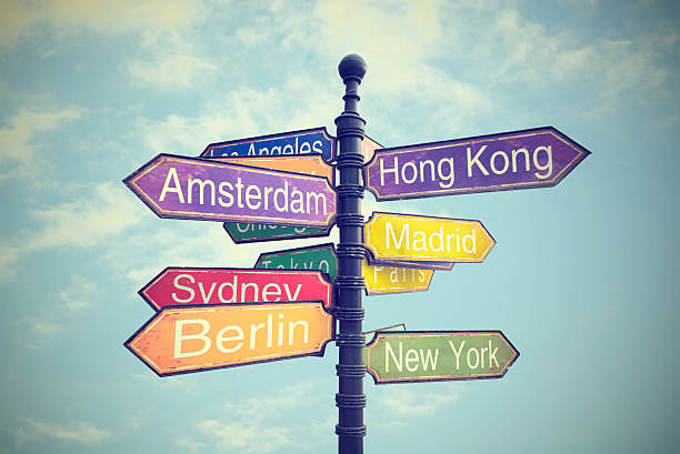 signboard with directions to countries - directional sign stock photos and pictures