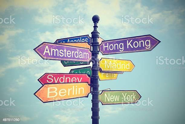 Schild Mit Wegbeschreibungen Zum Ländern Stockfoto und mehr Bilder von Reiseziel