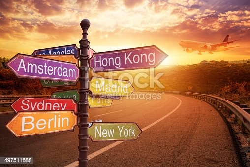istock signboard with directions to Countries 497511588
