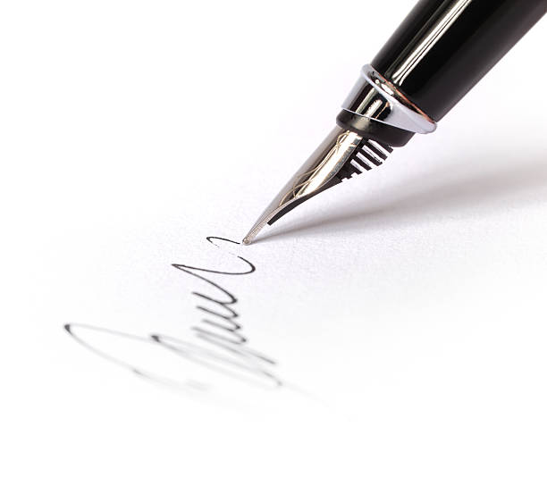 Signing a Blank Document stock photo