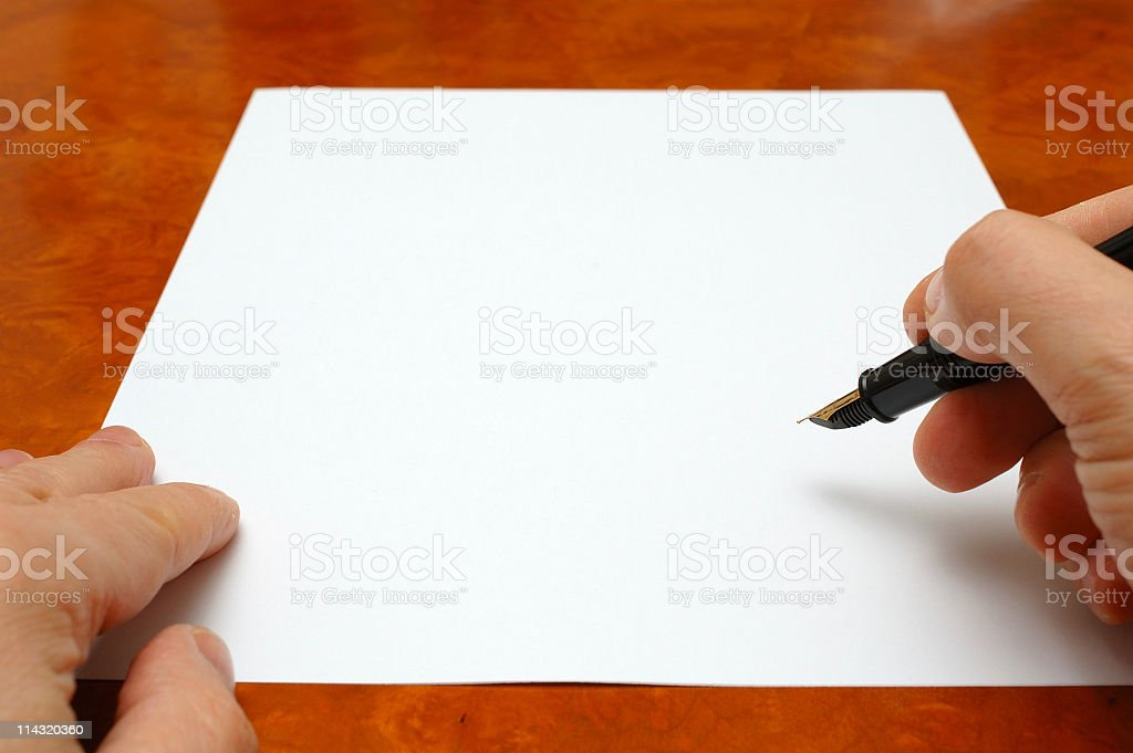 Signing Blank Paper royalty-free stock photo